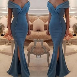 Dark Navy Pleats Satin Mermaid Prom Dresses 2019 Sexy Side Split Formal Evening Gowns Cheap Long Bridesmaid Dress Party Celebrity Gowns