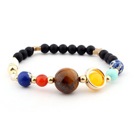 Universe Stone Beads Braided weave adjustable Eight Planets Solar System Galaxy Bracelet