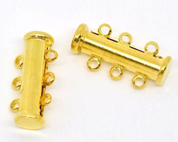 Free shipping gold electroplating brass tube 3 row magnet buckle 20 x10m necklace bracelet clasp