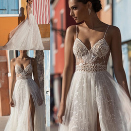 Beach Wedding Dresses Side Split Spaghetti Illusion Sweep Train Pearls Backless Sexy Boho Bridal Gowns Bohemian