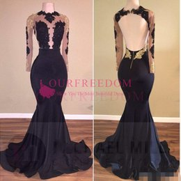 New African Black and Gold Mermaid Prom Dresses Long 2019 High Neck Satin Sexy See Through Open Back Long Sleeve Prom Evening Gowns