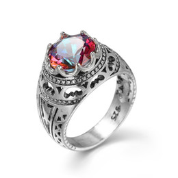 Luckyshine New two piece Lot Christmas Hot Selling Royal style 925 sterling silver Royal Style Mystic Topaz Ring for Lovers' Gifts R0106107