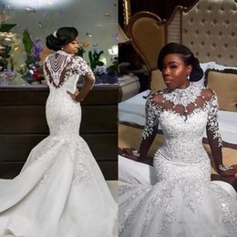 Beaded Lace Appliqued High Collar Christian Mermaid Wedding Dresses With Sleeves robes de mariee robe de mariages