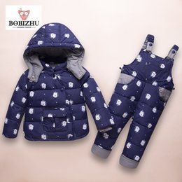 2018 Boy Girl Winter Set Kids Goose Down 95%+ Toddler Hooded Coat Warm Pattern Four Color Thickened 1-3 Year Baby Winter Ski Suit
