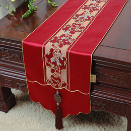 Jade Luxury Long Silk Satin Table Runner Wedding Dinner Party Table Decoration Rectangular Chinese Damask Table Cloth Runners 300 x 33 cm
