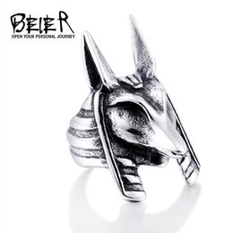 New Men's Stainless Steel Anubis Jackal Ring European and American Fashion 316L Titanium Steel Rings Jewelry Gift
