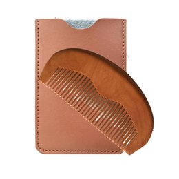 Wooden Beard Comb & Leather Case Handmade Wide Teeth, Wholesale Supplier Balms and Oils, Peach Wood Pocket Comb - BUY NOW!