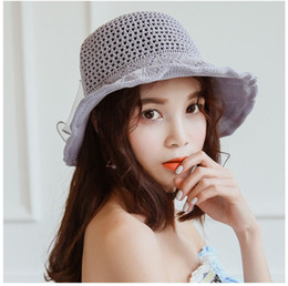 Womens Sun HatHats, ladies, New South Korean bow, pure color knitted fisherman hat, Korean version, big sun hat, basin cap, tide.