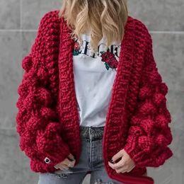 Autumn Winter Europe America Sweater Manual Weave Ball Lantern Sleeve Coat Sweater 3D Decoration Cardigans Knitting Sweater
