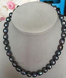 12-13MM SOUTH SEA BLACK PEARL NECKLACE 18inch 14k GOLD CLASP