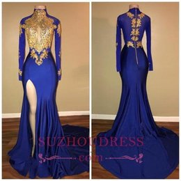Royal Blue Mermaid Prom Dresses High Jewel Neck Gold Applique Long Sleeves High Side Split Sweep Train Formal Evening Party Wear Custom