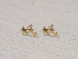 10Pairs Tiny 3 Stars Stud Earrings Three Linking Stars Stud Earring Cute 3star teens stud earrings for women
