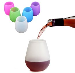 Silicone wine mug unbreakable camping picnic cup drinkware silicone beer mug portable whiskey wine glasses outdoor mug tumblers transparent