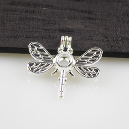 5pcs Silver Color Cute Dragonfly Design Jewelry Making Supplies Alloy Beads Cage Pendant Essential Oil Diffuser Trendy Locket Gift