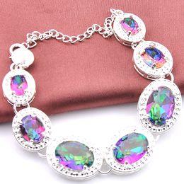 Luckyshine Hot sell fashion 925 sterling silver plated Oval charm bracelet Multi-Colored mystic topaz gemstone infinity bracelets jewelry