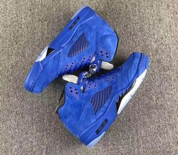 2018 cheap 5 Blue Suede Red Suede Men Basketball Shoes Hot products 5s Men Sneaker Size Eur 41-47