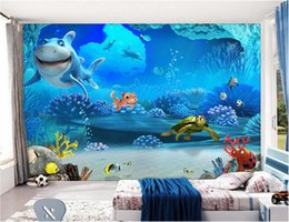 3d wallpaper custom photo Underwater world children's room cartoon shark Marine animal 3d wall murals wallpaper for walls 3 d living room