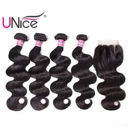 UNice Hair Body Wave 4 Bundles With Closure Unprocessed Indian Remy 100% Human Hair Extensions Hair Weaves Bundle With Lace Closure Cheap