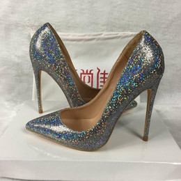 Color gold and silver high heels exclusive patent brand sequins shallow mouth shoes pump pump 10cm 12cm