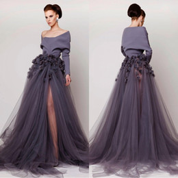 Azzi & Osta Off Shoulder 2018 Evening Dresses Hand Made Flower Long Sleeve Side Split Tulle Prom Gowns Fashion Sweep Train BA4301