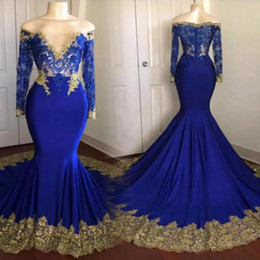 Sexy Cheap Royal Blue Prom Dress Plus Size Dresses Gold Appliques Vestidos de Fiesta Long Sleeve Prom Dresses