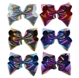 8 Inch Rainbow Ombre Leather Large Hair Bow On Clip Teens Kid Girl New Design Jumbo Hair Clip