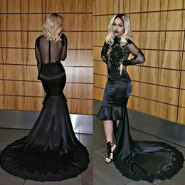 African Sexy Black High Low Mermaid Prom Dresses 2018 Sheer Long Sleeve Lace Appliqued Sequins Illusion Bodice Long Evening Gowns BA8076