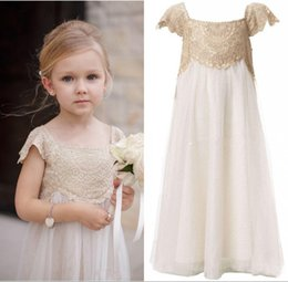 Vintage Flower Girl Dresses for Weddings Cheap Empire Champagne Lace Ivory Tulle First Communion Dresses Boho Floor Length Cap Sleeves