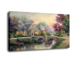 Thomas Kinkade Landscape Lamplight Manor ,Oil Painting Reproduction High Quality Giclee Print on Canvas Modern Home Art Decor