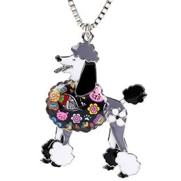 Poodle Gifts Jewelry for Dog Lovers Enamel Pets Dog Pendants Necklace Women's Keyring Design Can be Used as Car Keychain