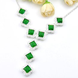 Luckyshine New Vintage Delicate Fire Square Green Quartz Gems Fashion Jewelry Silver Women Wedding Paryt Necklace Pendants