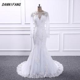 DANNIFANG vestidos de noiva Mermaid long wedding dresses 2018 Appliques Lace bohemian wedding dress Long sleeves Bridal gowns