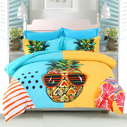 Wannaus 3D Bedding Sets Comforter Cover Queen Bedding Sets 60S Cotton High Quality Brocade Cool Pineapple Printed 4-Piece Duvet Covers set