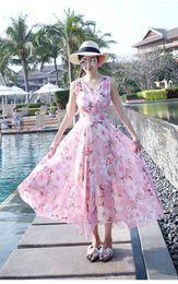 2018 hottest New summer women garment long V Flower Chiffon dress sleeveless printed sleeveless bonito vestido con presion de flores