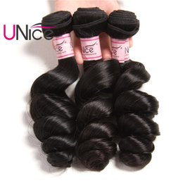 UNice Hair Peruvian Loose Wave 4 Bundles Remy Human Hair Weaves 3 Bundles Unprocessed Wefts Top Quality Brazilian Malaysian Loose Wave