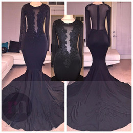 Modest Black Prom Dresses Long Sleeves Mermaid African Formal Evening Gowns Lace Beading Illsuion Jewel Neck Girls Party Dress