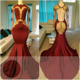 2018 Dark Red Prom Dresses Jewel Neck Sheer Long Sleeves Satin With Gold Lace Applique Mermaid Backless Long Plus Size Evening Party Gowns