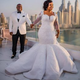 2018 Plus Size African Mermaid Wedding Dresses Lace Appliques Sheer Long Sleeves Bridal Gowns Satin Sweep Train Bridal Gowns Vestidos
