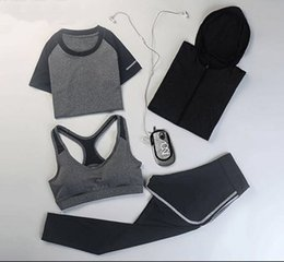 Women New YOGA GYM Suit Female Skinny Thin Slim Leisure Clothes Fitness Exercise Running Four Piece Sets Sport Jogging Wear Tracksuit
