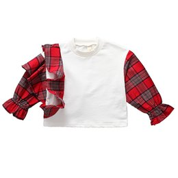 2018 spring new sweater girl ruffled plaid joining together in Europe and the United States edition of cute tide fan fold casual style