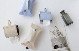 Fashion home car tissue box INS solid color cotton linen toilet paper towel roll paper tissue box five sets