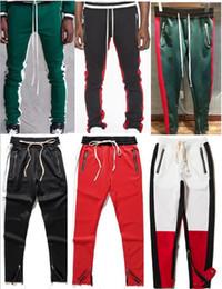 2019 New side zipper pants hip hop Fear Of God Fashion urban clothing red bottoms justin bieber FOG jogger pants Black red blue 19 styleS-XL