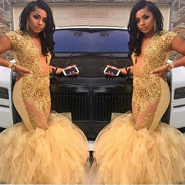 Sexy Plus Size Mermaid Prom Dresses 2018 Deep V Neck See Through Lace Appliques Tulle Gold Evening Gowns Pageant Dresses