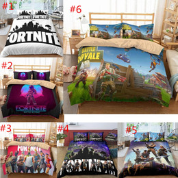 quilt duvets Promo Codes - Game Fortnite Duvet Cover Twin FUll Queen King Size Quilt Covers Bedding Blanket Cartoon Printed with Couple Pillow Cases Cover 3PCS SET 6 s