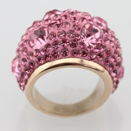 Ailuoyiren Round Pink Cubic zirconia Rose Gold Color Stainless Steel Ring For Women Luxurious Cluster Rings For Anniversary Party Birthday