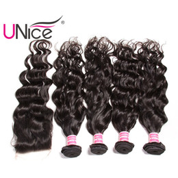 UNice Hair Virgin Wholesale Indian Natural Wave Bundles With Closure Human Hair Extensions Remy Hair Weave With Lace Closures Unprocessed