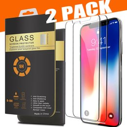 2 Packs For iPhone X 8 7 Plus Screen Protector Tempered Glass For Samsung S8 0.26mm 2.5D Rounded Edge