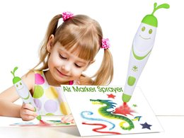 Creative marker airbrush Educational toys craft with washable electric markers magic drawing art set spray paint pen J