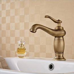 Vintage Retro Antique Brass Single Handle Bathroom Sink Faucet Lavatory Faucet Basin Vanity Sink Faucet Contemporary One Hole Deck Amount
