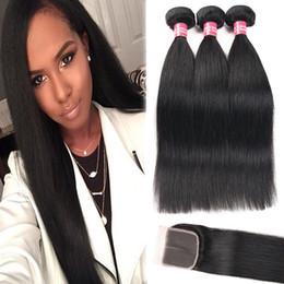 8A Remy 3 Bundles Brazilian Straight Body Wave Kinky Curly Deep Wave Hair With 4*4 Lace Closure 100% Human Hair Weaves Natural Black Color